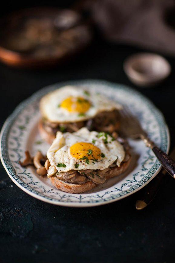 creamy miso mushrooms and eggs recipe