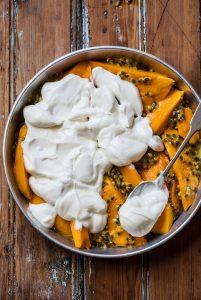 mango and passionfruit yoghurt brûlée
