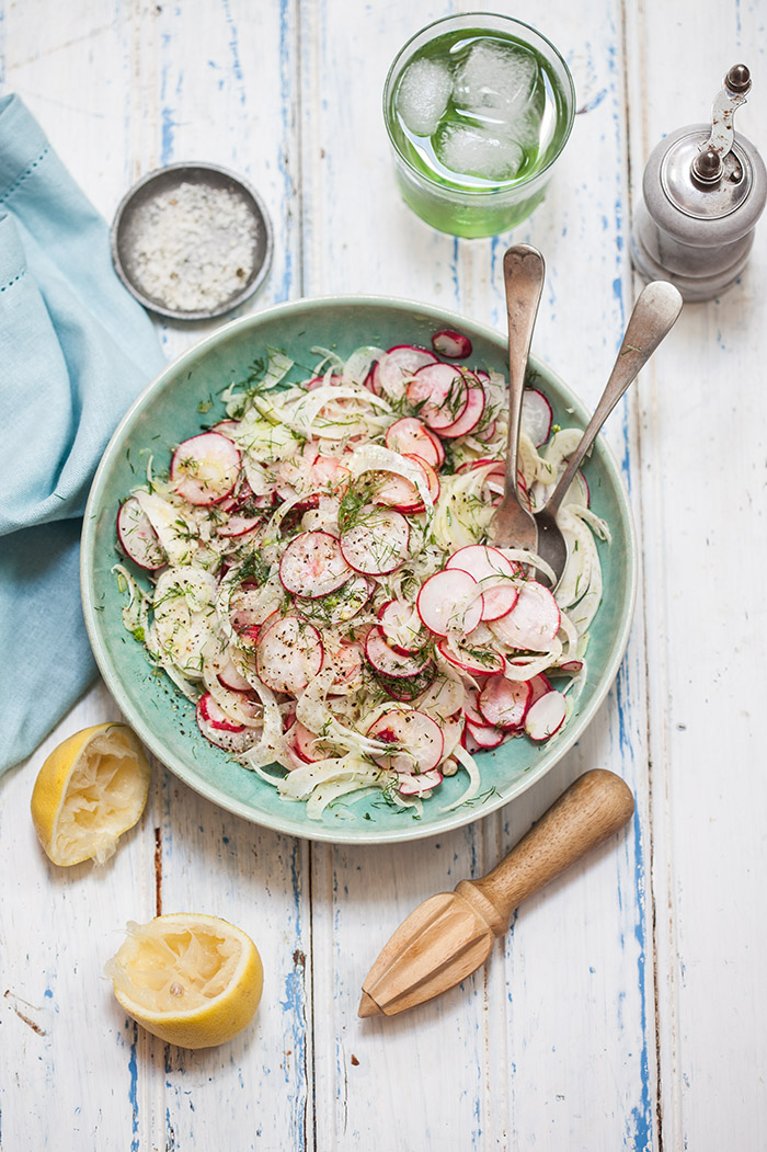 fennel and radish salad with lemon and olive oil