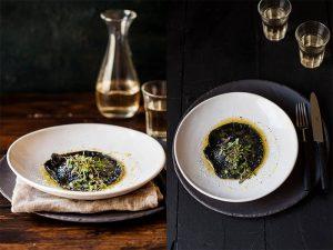 squid ink ravioli with broccoli and ricotta