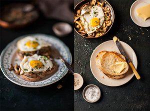 creamy miso mushrooms and eggs on toast