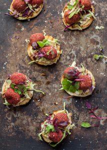 beetroot falafel on toasted pita