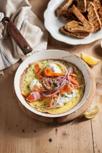 Omelette with smoked salmon and chive crème fraiche recipe