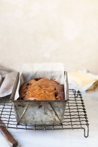 banana bread with blueberries and chocolate