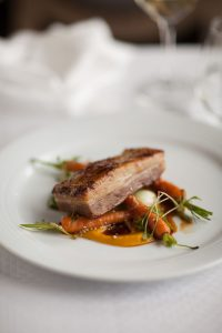 confit pork belly carrot purée and Vichy carrots