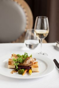 Oven Roasted Chicken Breast Supreme Potato Dauphinois, baby beetroot and pan jus