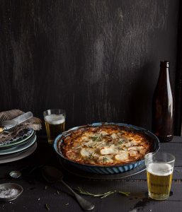 rustic lamb and mint pie with potato topping