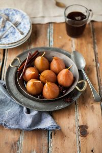 pears poached in spicy muscadel