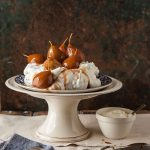 brown sugar pavlova with pears poached in spicy muscadel recipe