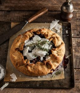 roast beetroot and onion galette