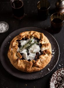 roast beetroot and onion galette with shaved goats cheese pecorino