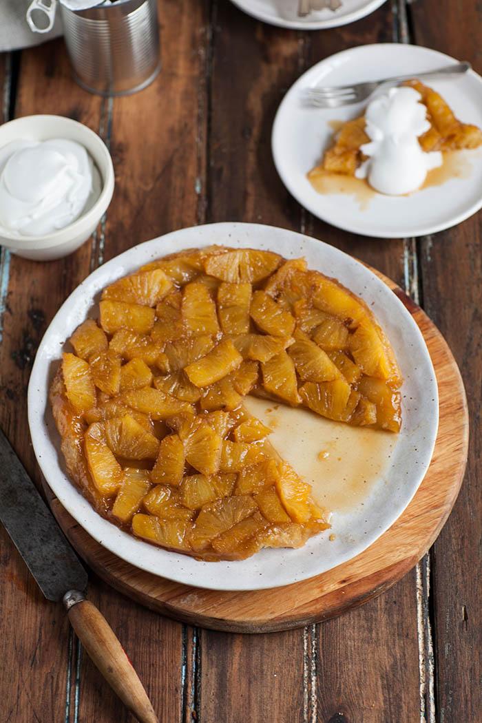 easy rum flambéed pineapple tart tartin
