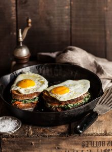 croque madame with spinach and salmon