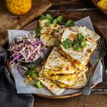 quesadillas with corn and red pepper relish