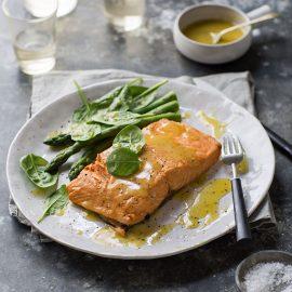 salmon poached in rooibos tea