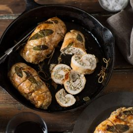 chicken breasts stuffed with pork, sage, and apple