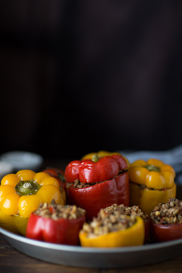 Turkish style stuffed red peppers