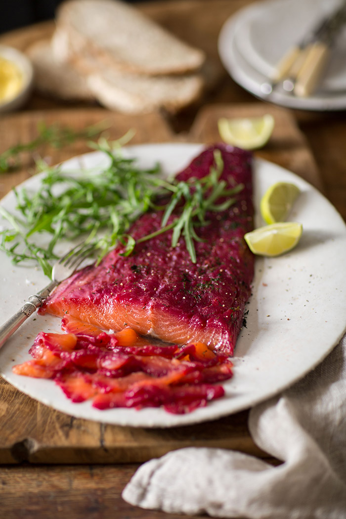 beetroot cured salmon gravadlax