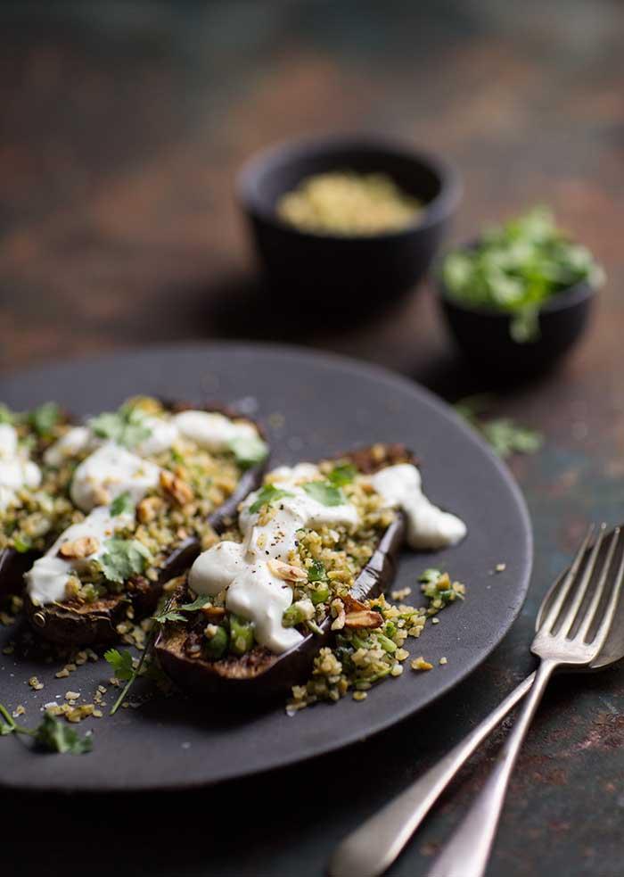 chermoula aubergines with bulgar and yoghurt