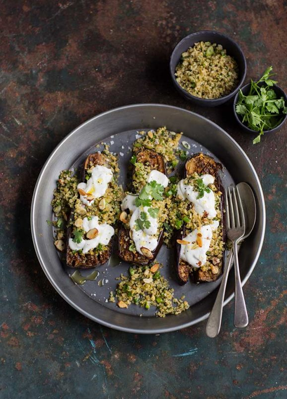 chermoula aubergines with bulgar and yoghurt
