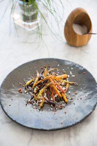 roasted carrots with oyster mayonnaise, chorizo and horseradish