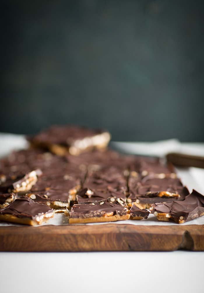 toffee, pretzel & chocolate bark