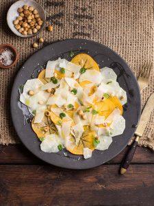 kohlrabi, persimmon, hazelnut and mint salad