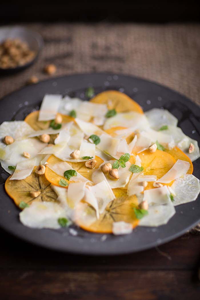 kohlrabi, persimmon, hazelnut and mint salad
