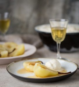 Pears poached in Noble Late Harvest