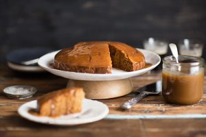 Triple Ginger and stout cake with a stout butterscotch sauce