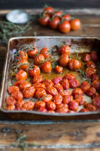 roasted tomatoes for egg and bacon in bread baskets
