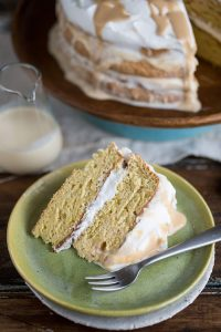 A tres leches layered cake with caramel
