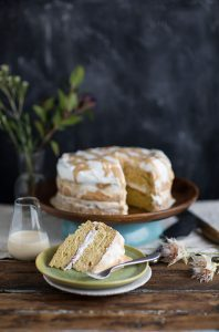 Tres leches layer cake with caramel