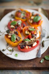 peppers stuffed with cherry tomatoes, garlic, feta and olives