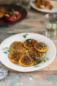 Peppers stuffed with a herby Parmesan crumb