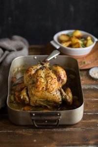 roast chicken with stout, rosemary and honey