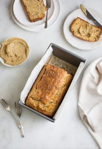 banana foster bread with banana foster butter
