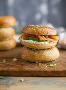 bagel with wasabi cream cheese, smoked salmon, avo and pickled ginger