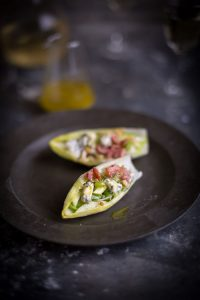 endive salad boats with apple, blue cheese, bacon and walnuts with a maple vinaigrette dressing