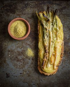 char roasted spring onion tartines with viking salt