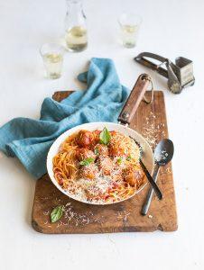 chicken meatballs with spaghetti & marcella hazan's famous tomato sauce