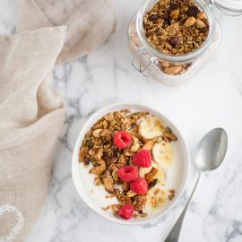honey nut granola with coconut flakes, gogi berries & seeds