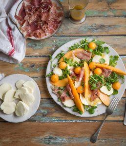 Melon, mozzarella & parma ham salad with a honey & mustard vinaigrette