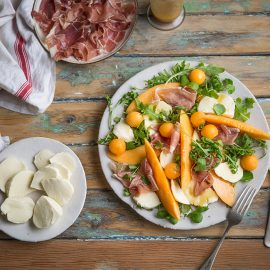 Melon, mozzarella & parma ham salad with a honey & mustard vinaigrette