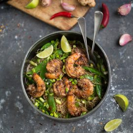 Oriental noodle salad with prawns, sugar snaps, ginger & soy