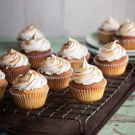 Lemon pistachio cupcakes with a honey meringue frosting