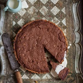 Decadent chocolate & pine nut tart
