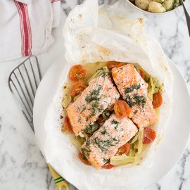 trout en papillote with fennel and tomato