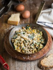 spinach and corn scramble with parmesan