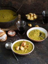 A classic split pea and ham hock soup